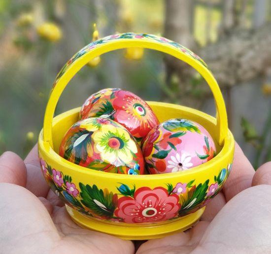 Osterdeko - Handgemachtes Körbchen und Eier aus Holz