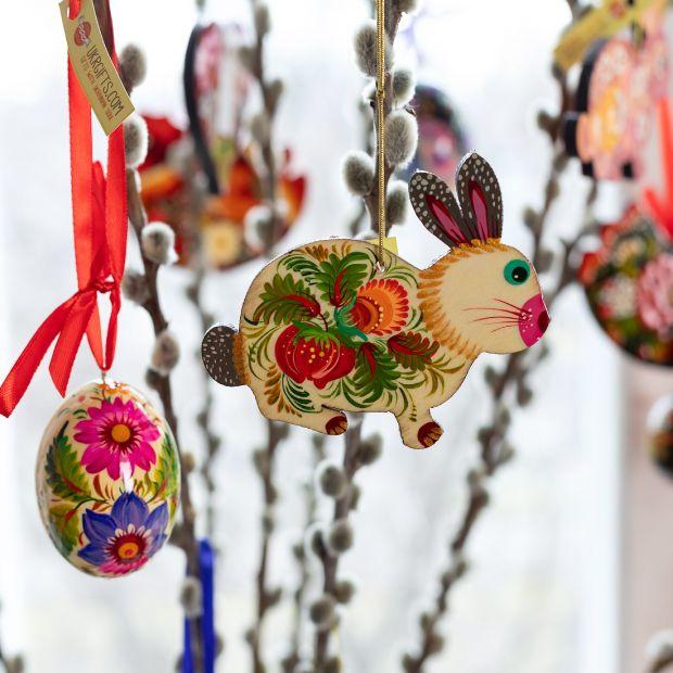 Handbemalte Ostereier aus Holz zum Aufhängen- 5 St Set , Ukrainisches traditionelles Kunsthandwerk