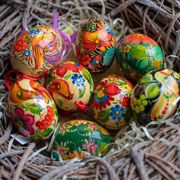 Ukrainian hand painted eggs, Easter tree wooden decorations