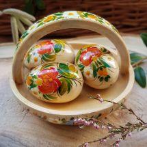 Small Easter basket - hand painted wooden decoration - ukrainian art