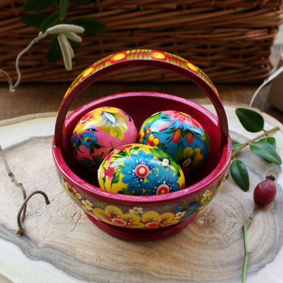 Easter basket - high quality wooden decoration - ukrainian painting