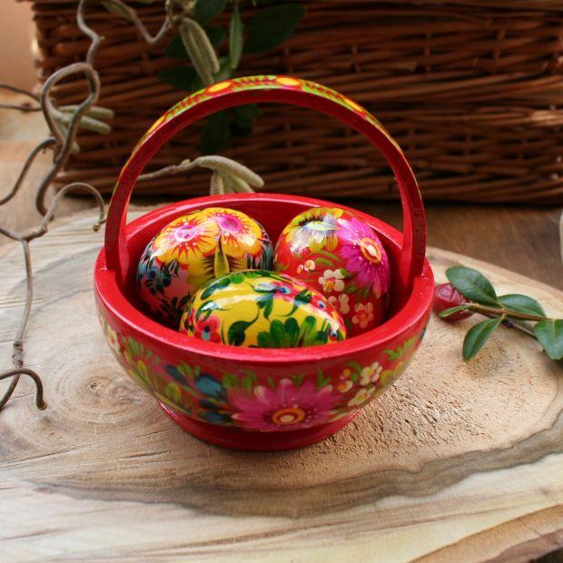 Bunte Osterdekoration- Osterkörbchen-mit Eier aus Holz - Kunsthandwerk