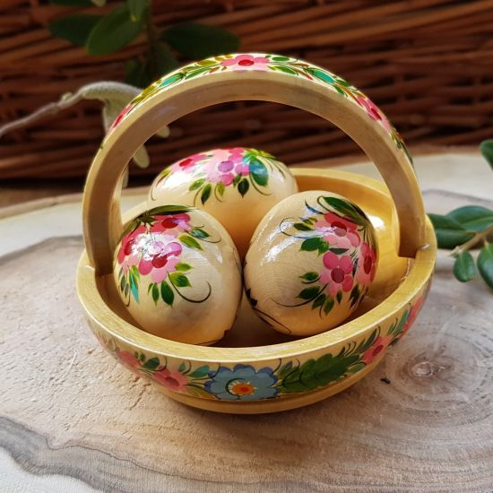 Pretty Easter basket - high quality wooden decoration - ukrainian art