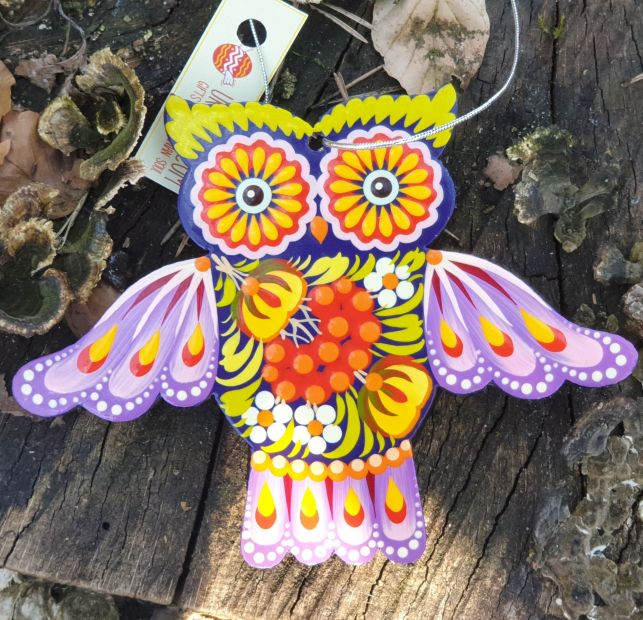 Ethnic christmas ornament owl,  gift idea for owl lovers, ukrainian art