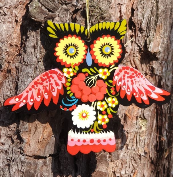 Owl Christmas ornament,  gift idea for owl lovers, hand painted
