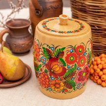 Dekorativer Dose aus Holz für Bulk-Produkte, ukrainische Bauernmalerei