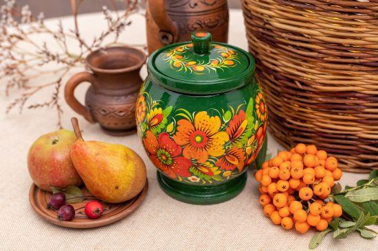 Holz-Dose für Bulk-Produkte in Grün, ukrainische Handarbeit