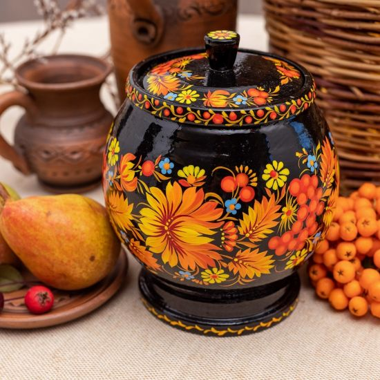 Wooden jar for bulk products in black and orange, Ukrainian art