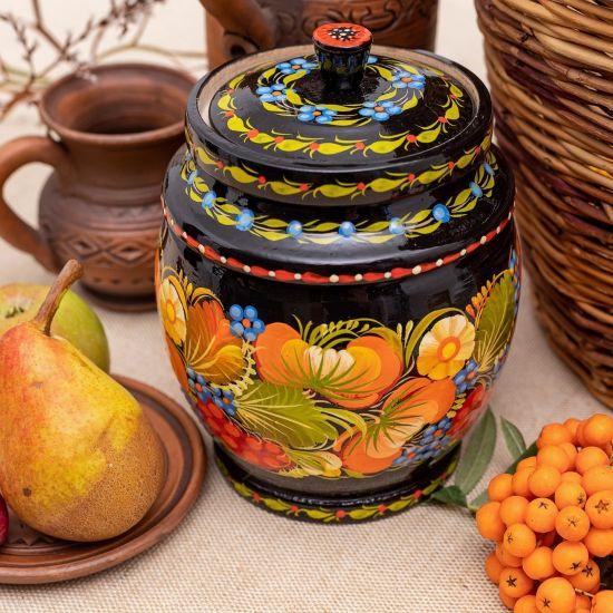 Holz-Dose für Bulk-Produkte, ukrainische Volkskunst