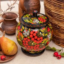 Wooden jar for bulk products with Petrykivka-painting