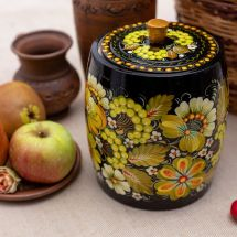 Decorative box made of wood for bulk products, Ukrainian lacquer painting