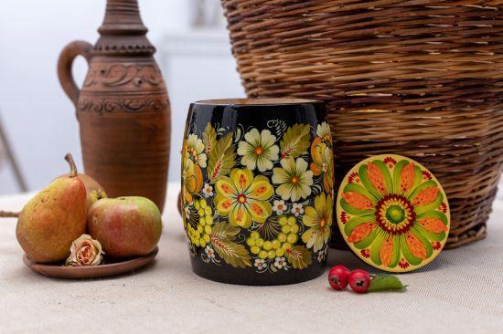 Dekorativer Dose aus Holz für Bulk-Produkte, ukrainische Lackmalerei