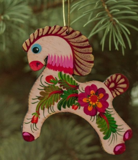 Wooden Christmas Horse Ornaments (01), hand painted in Ukraine, Petrykivka Painting