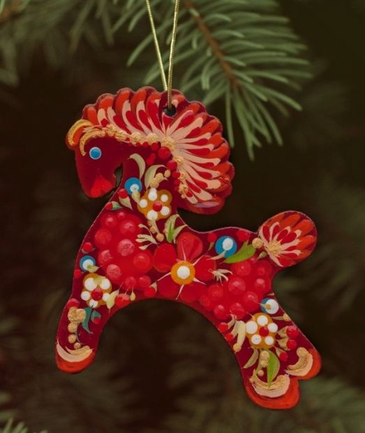 Wooden Christmas Horse Ornaments (03), hand painted in Ukraine, Petrykivka Painting