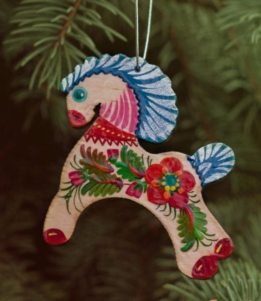 Wooden Christmas Horse Ornaments (04), hand painted in Ukraine, Petrykivka Painting