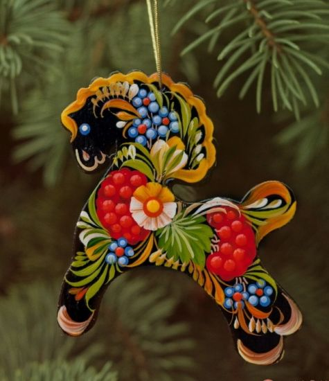 Wooden Christmas Horse Ornaments (02), hand painted in Ukraine, Petrykivka Painting