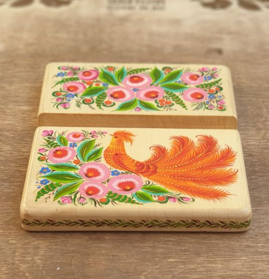 Stand for phone and tablet made of wood, exclusive hand painted, beautiful desktop decor,
