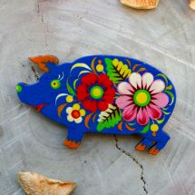 Pretty pig- fridge magnet and lacky charm, hand painted