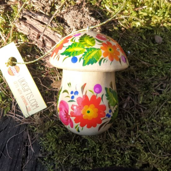 Mushroom wooden Christmas ornament and cute present box, hand painted in Ukraine