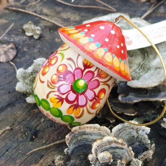 Mushroom Christmas wooden ornament and small present box, hand painted