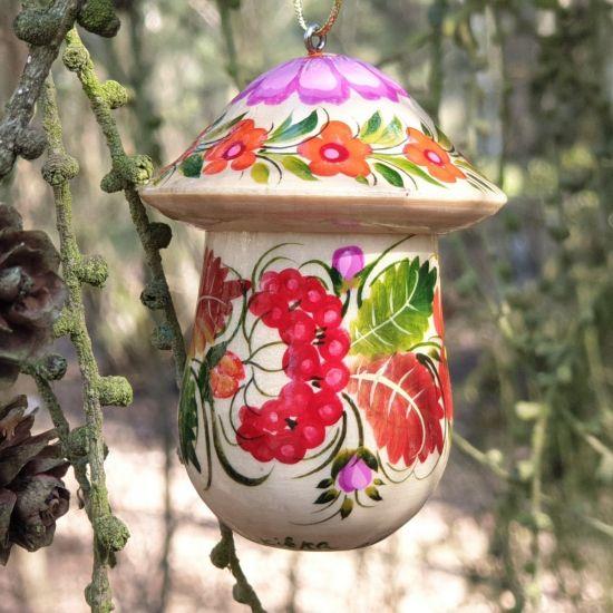 Glücksbringer - Fliegenpilz - Anhänger aus Holz, der sich öffnen lässt