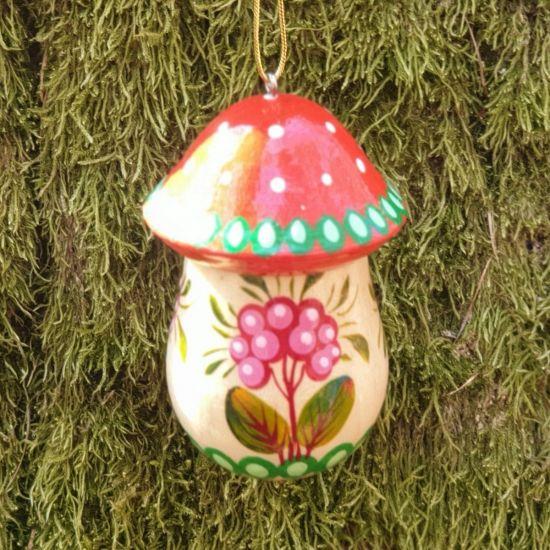 Fliegenpilz - Anhänger handbemalter Christbaumschmuck in Pilzform aus Holz