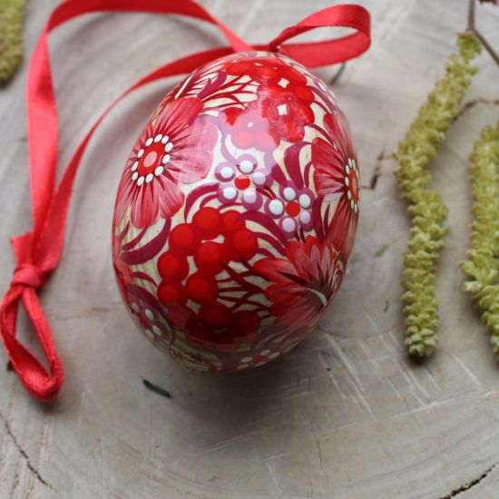 Ukrainian Easter egg with painted butterfly, wood