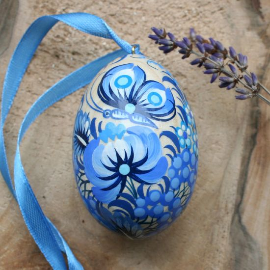 Hand painted wooden Easter egg with butterfly, blue