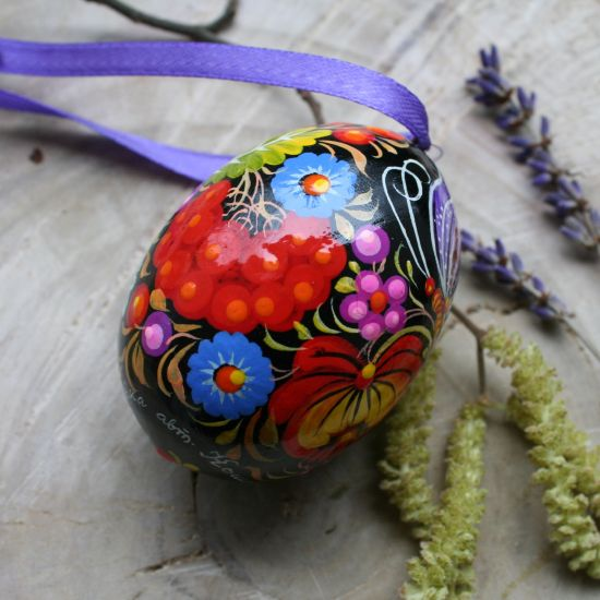 Hand painted wooden Easter egg with butterfly, black