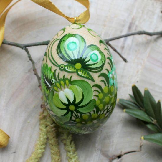 """Hochwertiges Osterei zum Aufhängen """"Schmetterling"""", grün - Ukrainische Handwerkskunst"""