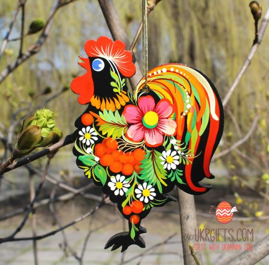 Easter ornament, handpainted Rooster
