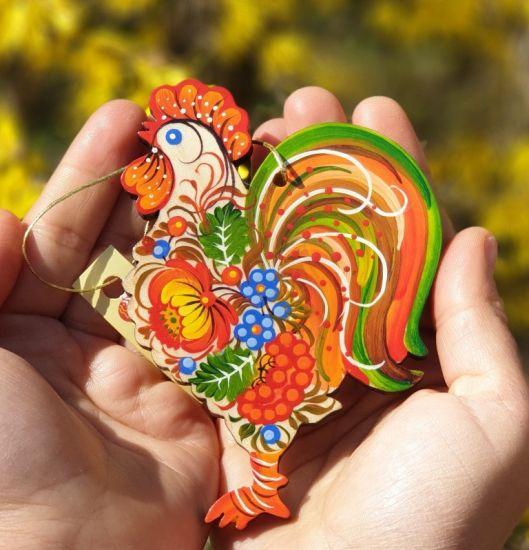 Wooden Rooster ornament - Handpainted in Ukraine