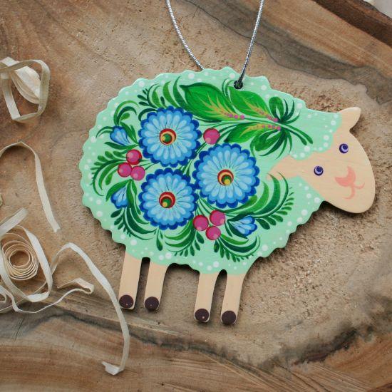 Schaf Osterschmuck aus Holz, handbemalt - Ukrainishe Malkunst