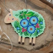 Sheep wooden ornament, hand painted - Ukrainian painting