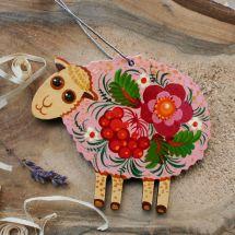 Funny sheep decor, hand painted - Ukrainian painting