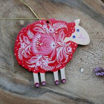 Pretty sheep Easter ornament, hand painted - Ukrainian painting