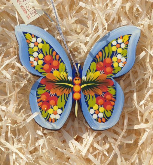 Bunter Weihnachtsschmuck aus Holz- Schmetterling traditionell bemalt