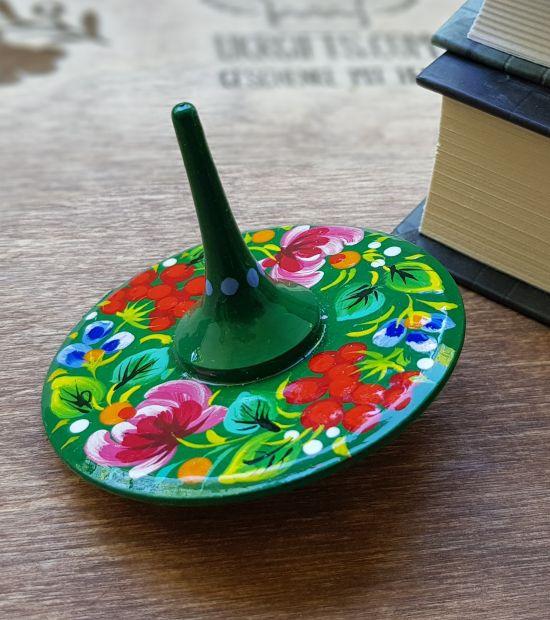 Holzkreisel, traditionelles Spielzeug für Kinder, ukrainisches Kunsthandwerk