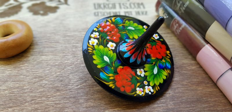 Hand painted wooden spinning top, eco toy with traditional ukrainian painting