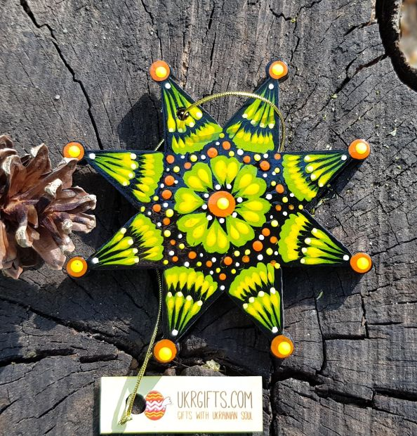 Wooden christmas stars ornaments, hand painting