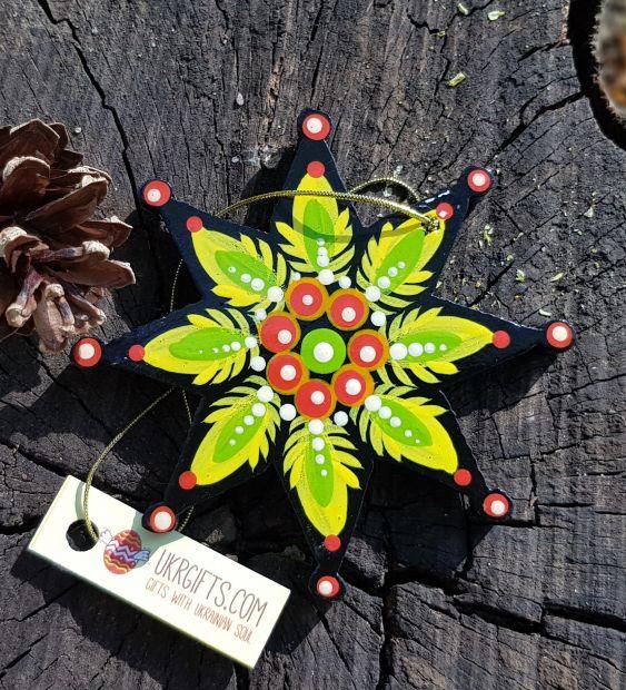 Holz-Weihnachtsstern-Anhänger, ukrainisches Kunsthandwerk