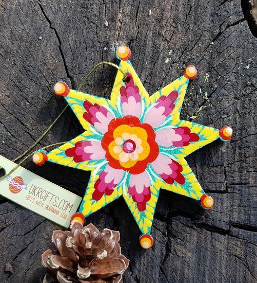 Christmas star wooden handmade ornament, artisan Petrykivka