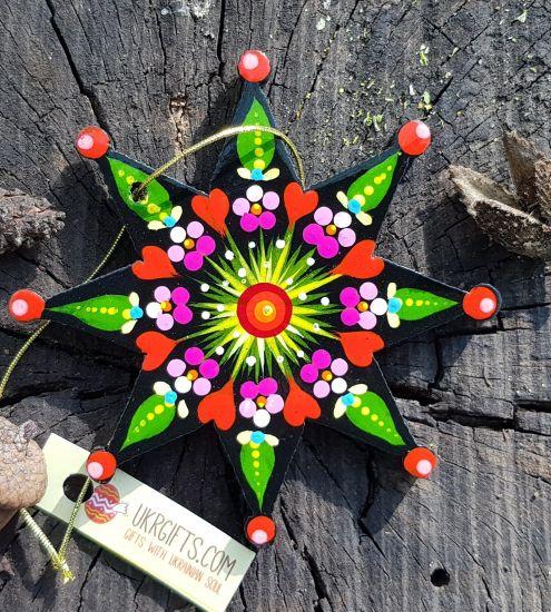 Bunter Christbaumschmuck Stern aus Holz, Kunsthandwerk