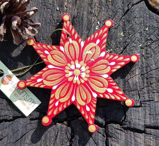 Christmas stars decoration, ethnic hand painting