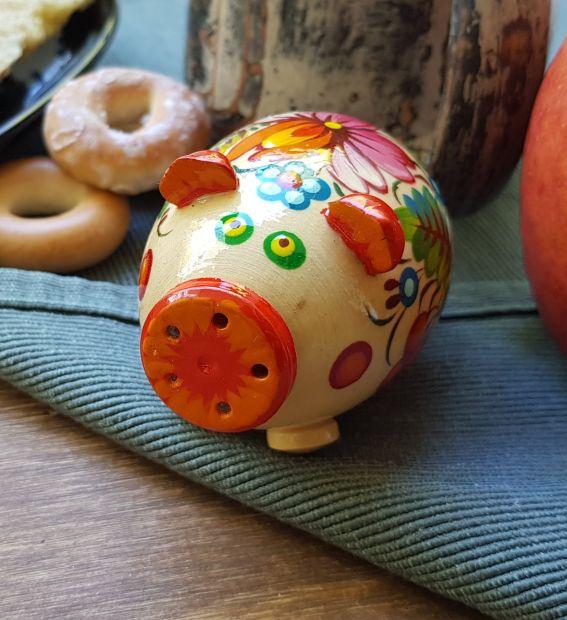 Handgefertigtes Schwein, Salz- und Pfefferstreuer mit dem Blumenornament
