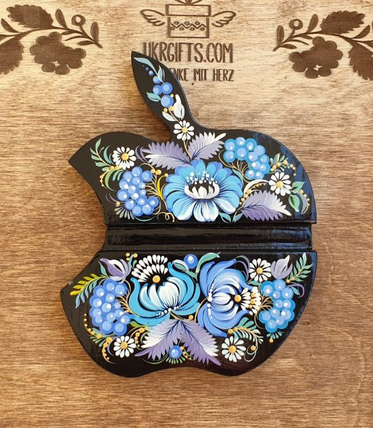 """Woden Stand for phone and tablet """"Apple"""", exclusive desktop decor, hand painted"""