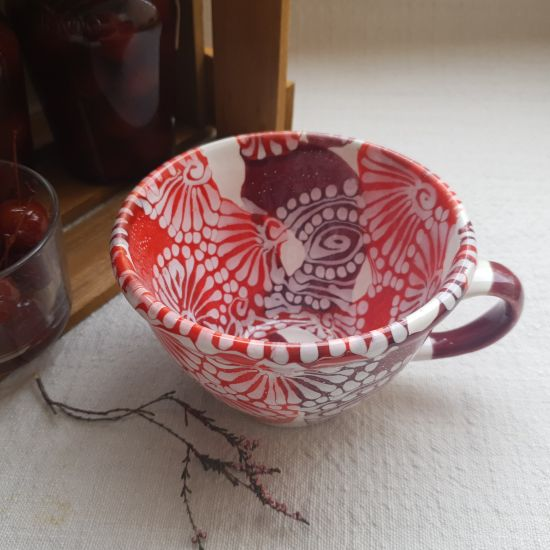 Handbemalte Keramik Tasse mit dem Abstraktmuster - Kunsthandwerk