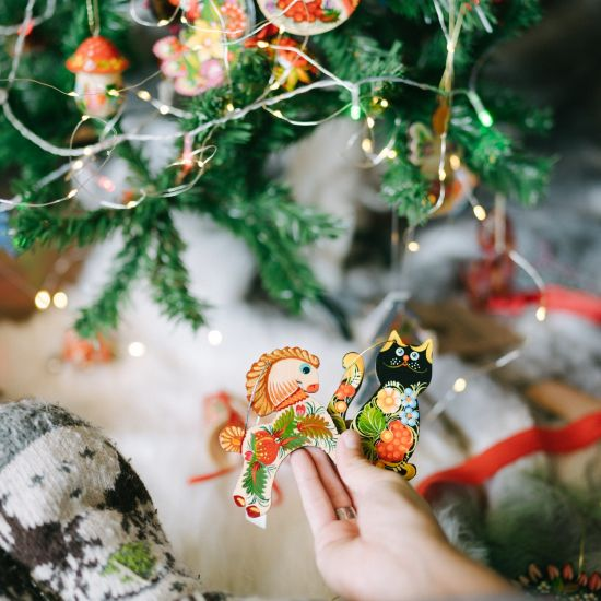 Wooden Christmas tree decorations funny animals cat and fish