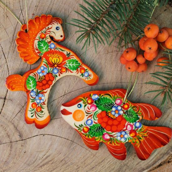 Christmas ornaments horse woode gentle hand painted