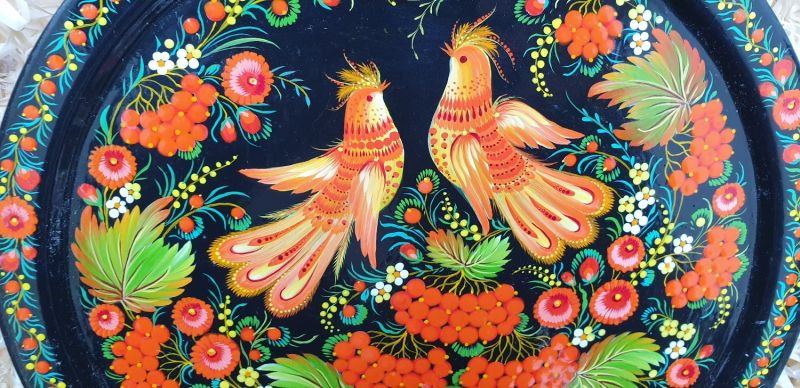 "Wall plate to hang, deco ""Birds in love"", traditional ukrainian Petykivka painting"